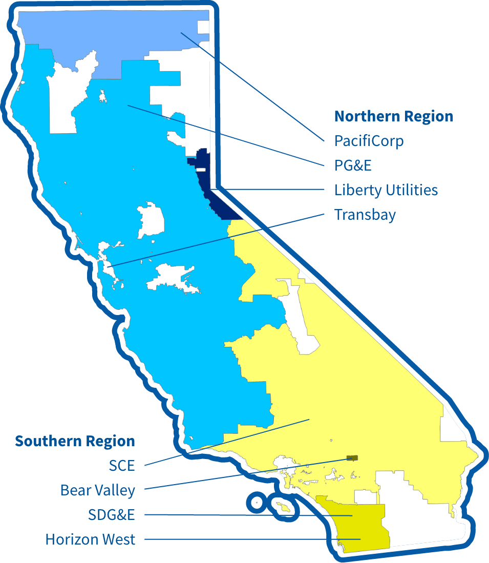 Annotated map of service territories for regulated utilities.